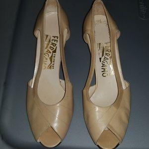 Salvatore Ferragamo Peep Toe  Leather Shoes Sz 6C